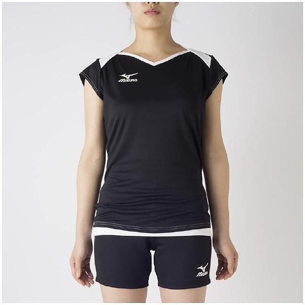 (セール)MIZUNO(ミズノ)バレーボール 半袖プラクティスシャツ キャップスリーブプラクティス V2MA728290 レディース ブラックXホワイト