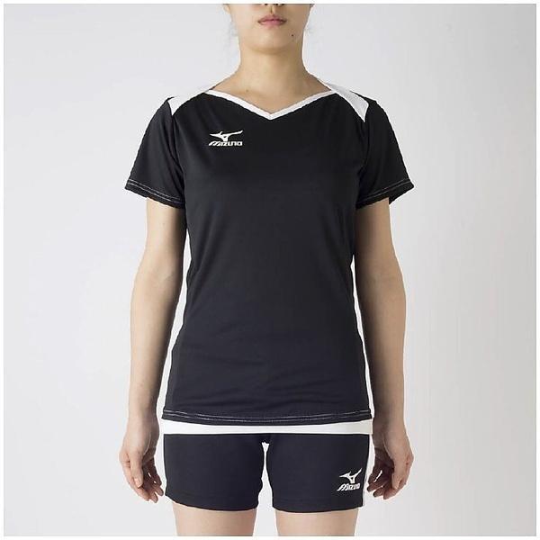 (セール)MIZUNO(ミズノ)バレーボール 半袖プラクティスシャツ プラクティスシャツ V2MA728390 レディース ブラックXホワイト