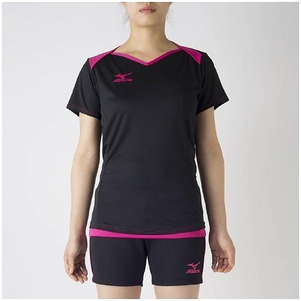 (セール)MIZUNO(ミズノ)バレーボール 半袖プラクティスシャツ プラクティスシャツ V2MA728397 レディース ブラックXベリーピンク