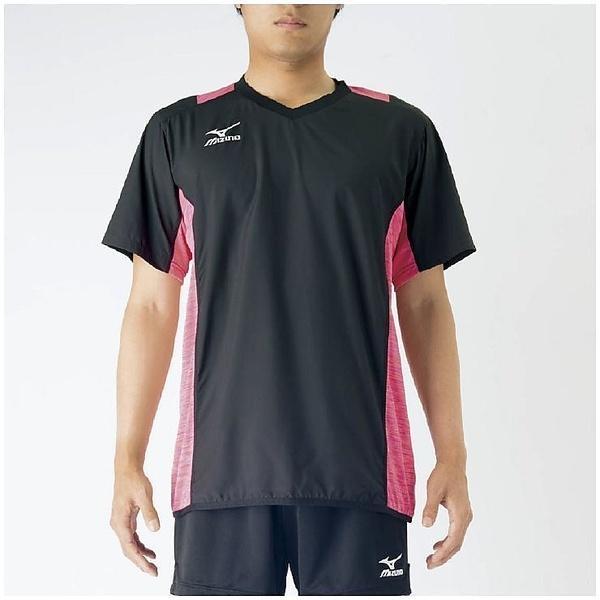 (セール)MIZUNO(ミズノ)バレーボール ウェア ブレーカーシャツ V2MC700297 ブラックXルミナスピンク