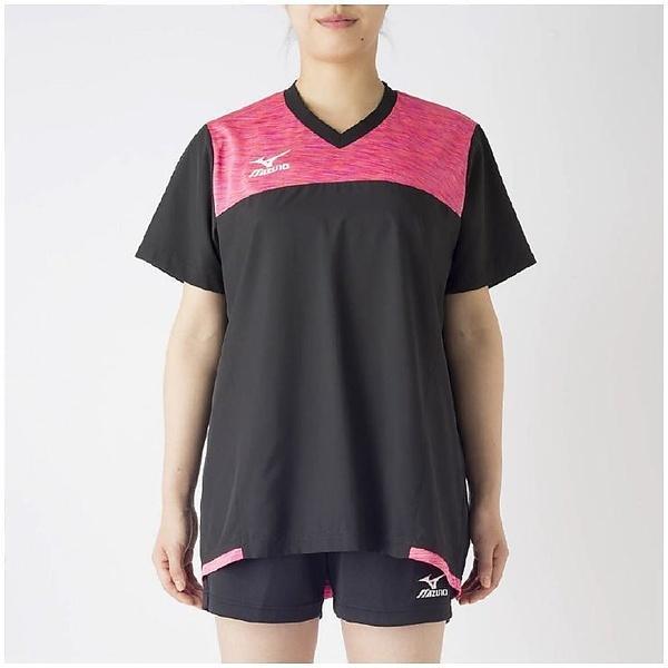 (セール)MIZUNO(ミズノ)バレーボール ウェア ブレーカーシャツ V2MC720297 レディース ブラックXルミナスピンク