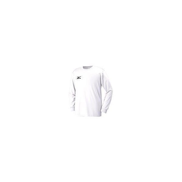 (セール)MIZUNO(ミズノ)バレーボール 長袖Tシャツ Tシャツ長袖(NAVIドライ/MEN'S) 32JA613001 01 ホワイトxブラック