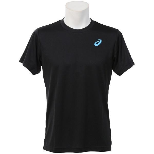 (セール)ASICS(アシックス)ラケットスポーツ Tシャツ T SHIRT EZO930.9048 ブラック/スカイブルー