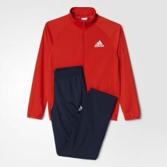 <LOHACO> adidas(アディダス)ジュニアスポーツウェア ウォームアップスーツ BOYS ジャージ上下セット(ストレートパンツ)AAX01 BP8817 ボーイズ コアレッド S17画像