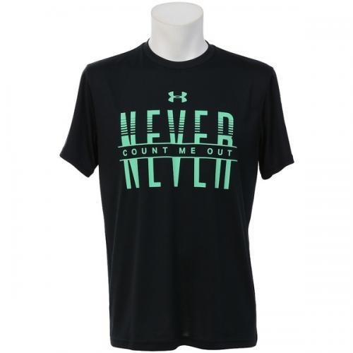 (セール)UNDER ARMOUR(アンダーアーマー)バスケットボール メンズ 半袖Tシャツ UA TECH NEVER COUNT ME OUT 1295515 メンズ BLACK/VAPOR GREEN