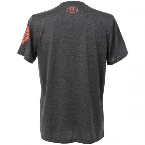 (セール)UNDER ARMOUR(アンダーアーマー)バスケットボール メンズ 半袖Tシャツ UA TECH NEVER COUNT ME OUT 1295515 メンズ CARBON HEATHER/PHOENIX FIRE