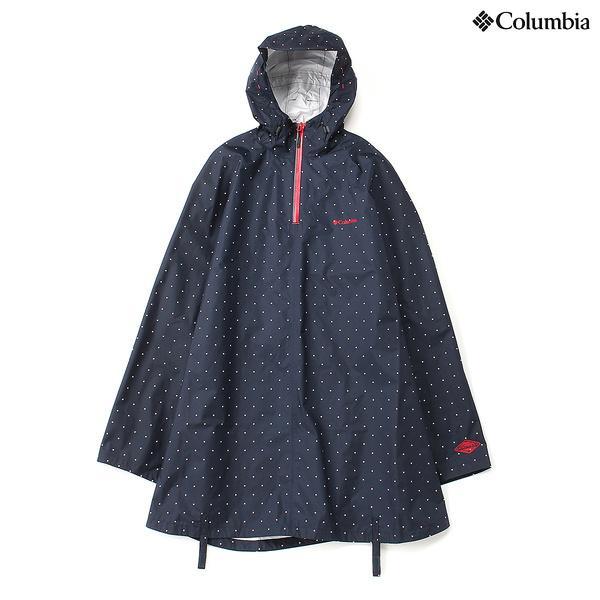 (セール)(送料無料)Columbia(コロンビア)トレッキング アウトドア ポンチョ エクセターロードポンチョ PU1642-426 COLUMBIA NAVY DOT