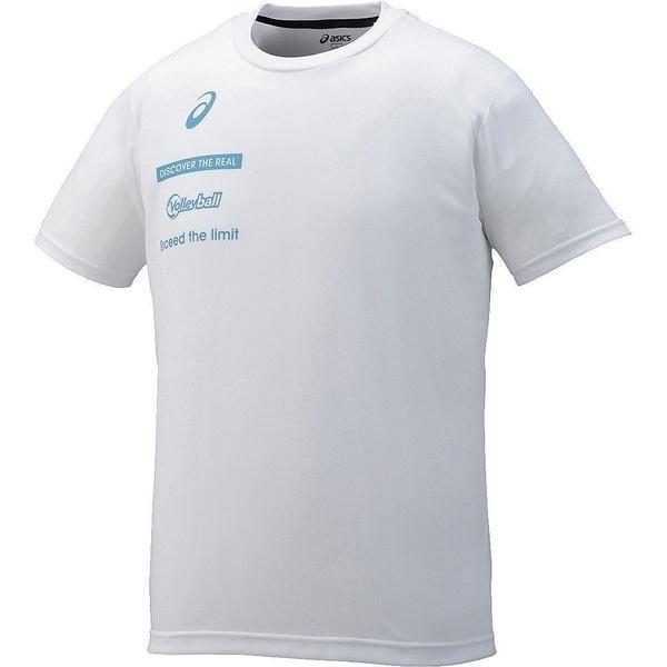 (セール)ASICS(アシックス)バレーボール 半袖Tシャツ プリントTシヤツHS XW6726.01 ホワイト