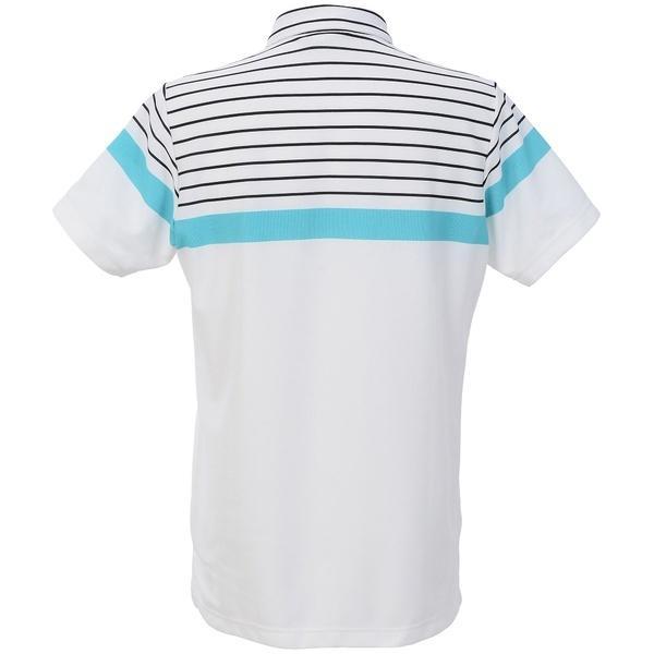 (セール)(送料無料)le coq(ルコック)ゴルフ 半袖ポロ 半袖ハイネック 先染めボーダーミニカノコサンスクリーン半袖シャツ QG1527 メンズ N942