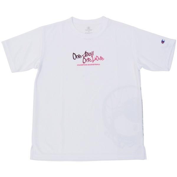 (セール)Champion(チャンピオン)バスケットボール ジュニア 半袖Tシャツ MINI PRACTICE TEE CK-KB321 ボーイズ ホワイトXピンク