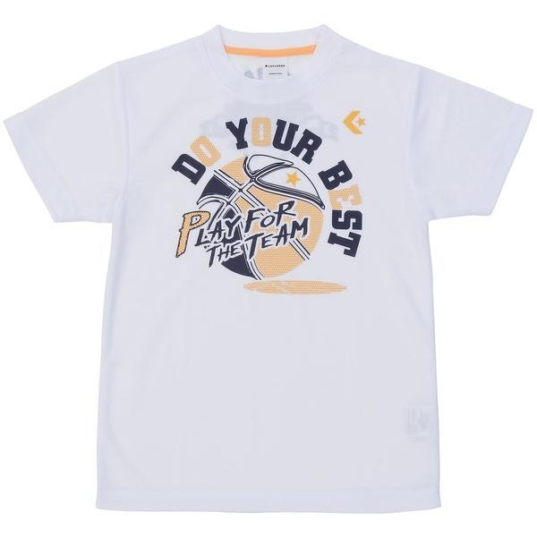 (セール)CONVERSE(コンバース)バスケットボール ジュニア 半袖Tシャツ JRプリントTシャツ CB471302-1100 ジュニア WHT