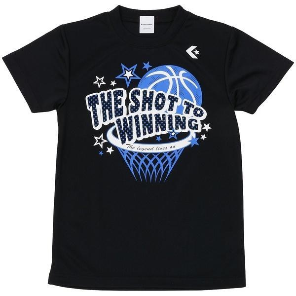 (セール)CONVERSE(コンバース)バスケットボール ジュニア 半袖Tシャツ GIRLS PRINT T SHIRT CBC471307-1900 ガールズ BLK