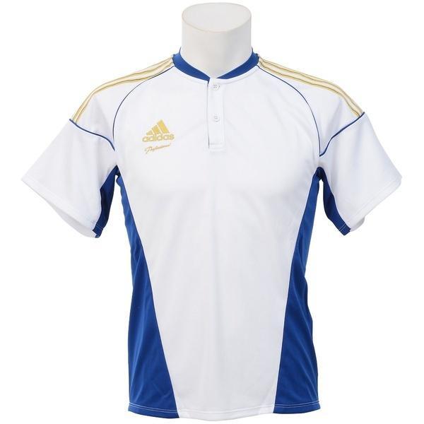 (セール)adidas(アディダス)野球 半袖Tシャツ ADIDAS PRO TR チーム2ボタンシャツ SS Z GYJ76-S16956 メンズ J/L ホワイト/カレッジロイヤル