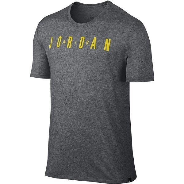 (セール)NIKE(ナイキ)バスケットボール メンズ 半袖Tシャツ ジョーダン ICONIC AIR JORDAN S/S Tシャツ 834478-071 メンズ チャコールヘザー/(オプティイエロー)