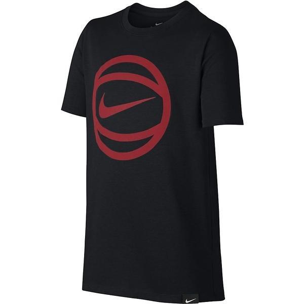 (セール)NIKE(ナイキ)バスケットボール ジュニア 半袖Tシャツ ナイキ YTH ドライ ボール ロゴ S/S Tシャツ 869351-011 ボーイズ ブラック/(トラックレッド)