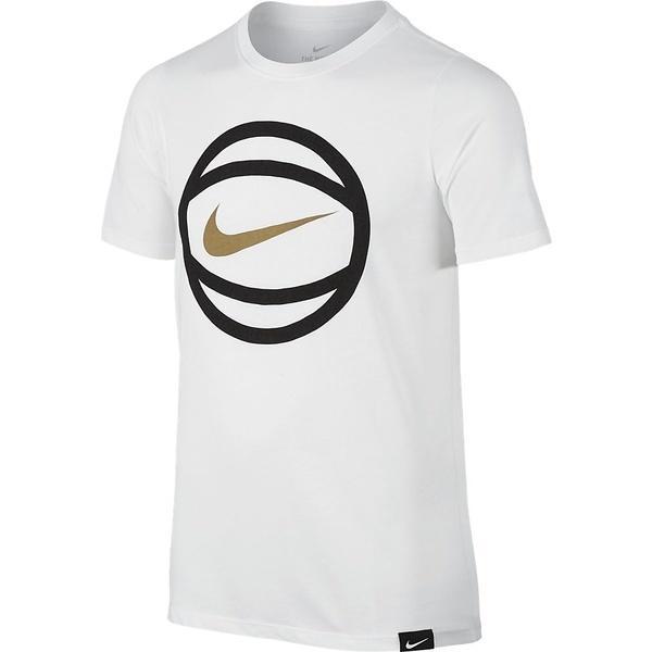 (セール)NIKE(ナイキ)バスケットボール ジュニア 半袖Tシャツ ナイキ YTH ドライ ボール ロゴ S/S Tシャツ 869351-100 ボーイズ ホワイト/(フラットゴールド)