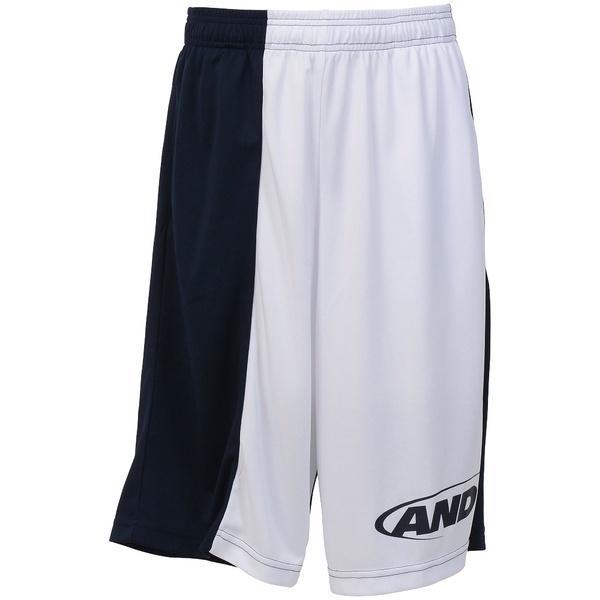 (セール)AND1(アンドワン)バスケットボール メンズ プラクティスショーツ TC ASYMMETRY SHORT S737120601 WHITE/NAVY/NAVY