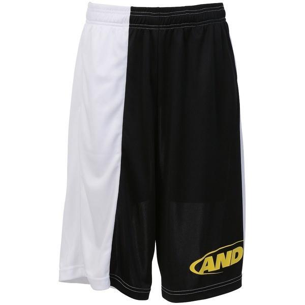 (セール)AND1(アンドワン)バスケットボール メンズ プラクティスショーツ TC ASYMMETRY SHORT S737120681 BLACK/WHITE/YELLOW