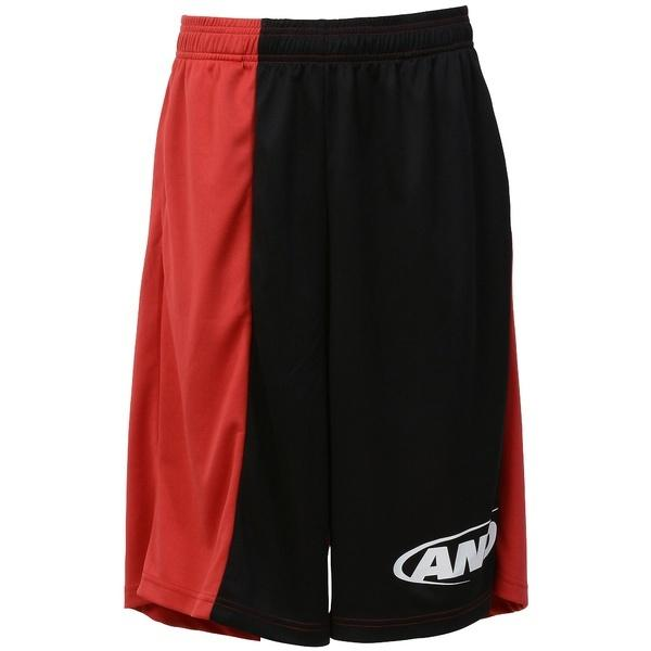 (セール)AND1(アンドワン)バスケットボール メンズ プラクティスショーツ TC ASYMMETRY SHORT S737120683 BLACK/RED/WHITE