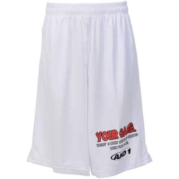 (セール)AND1(アンドワン)バスケットボール メンズ プラクティスショーツ YOUR GAME TALK SHORT S737120701 WHITE/RED/BLACK