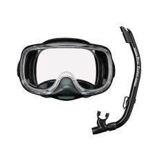 (セール)VIEW(ビュー)サマー レジャー シュノーケリング 3眼排水弁付マスクと排水性の高いスノーケルの高性能シリコーン2点セット RC0104 BKBK BKBK