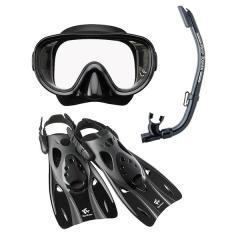 (送料無料)VIEW(ビュー)サマー レジャー シュノーケリング 高機能を全てに集約したシリコーン製のマスク・スノーケル・フィン3点セット RP0103 BK L L BK