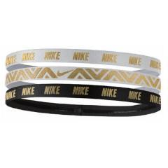 NIKE(ナイキ)スポーツアクセサリー アパレル雑貨 ナイキ メタリック ヘアーバンド 3本パック BN2025 912 F ホワイト/ブラック