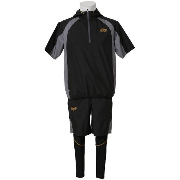 (セール)(送料無料)ZETT(ゼット)野球 ウインドシャツ ウインドピステ&スパッツセットS BOWP3SETS S ブラック