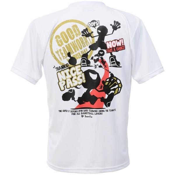 (セール)TEAMFIVE(チームファイブ)バスケットボール メンズ 半袖Tシャツ TEAMFIVE Tシャツ AT-57「グッド・チームワーク!」 AT-5708MS ホワイト