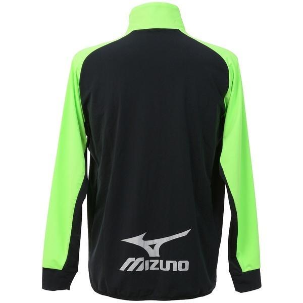 (送料無料)MIZUNO(ミズノ)サッカー ウォームアップ ストレッチフリースシャツ P2MC751593 メンズ ブラック*グリーンゲッコー