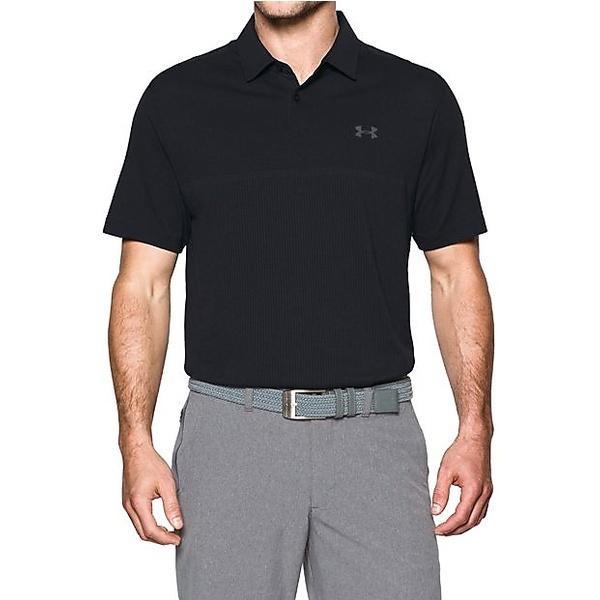 (送料無料)UNDER ARMOUR(アンダーアーマー)ゴルフ 半袖ポロ 半袖ハイネック UA THREDBORNE JACQUARD POLO 1299064 メンズ BLACK/RHINO GRAY/RHINO GRAY