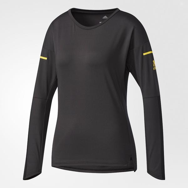 (送料無料)adidas(アディダス)テニス バドミントン レディース半袖シャツ 長袖シャツ WOMENS FEELINGKIT 長袖Tシャツ DKI69 CF3623 レディース ブラック/イーキューティーイエロー S16