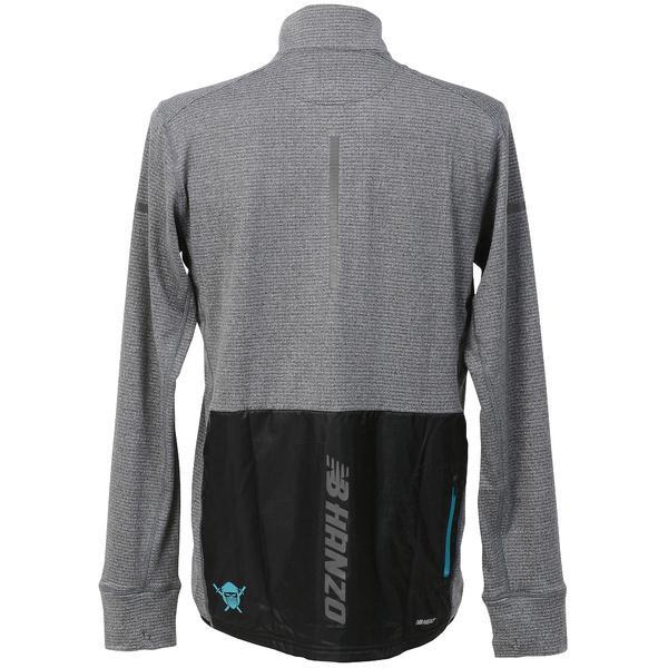 (送料無料)New Balance(ニューバランス)ランニング メンズ長袖Tシャツ NB HANZO ストレッチトレッチハイブリッドハーフジップ JMTR7641BKH メンズ ブラックヘザー