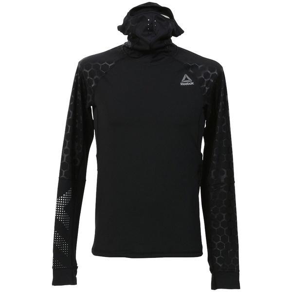 (セール)(送料無料)Reebok(リーボック)メンズスポーツウェア 長袖機能Tシャツ ワンシリーズ HEXAWARM リフレクティヴ スキューバパーカー DRC54 BQ3612 メンズ ブラック