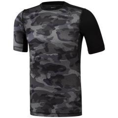 (セール)Reebok(リーボック)メンズスポーツウェア コンプレッション半袖 ワンシリーズ ACTIVCHILL COMP カモグラフィック ショートスリーブTシャツ DMO41 BR9567 メンズ ブラック
