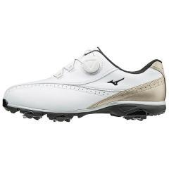 (送料無料)MIZUNO(ミズノ)ゴルフ メンズゴルフシューズ WIDE STYLE 002 BOA 51GQ174050 メンズ 50:ホワイトxゴールド