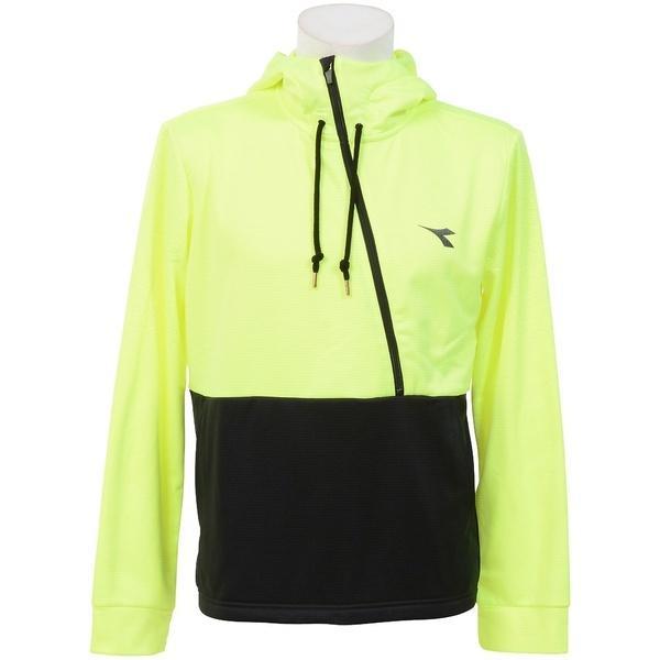 (セール)(送料無料)DIADRA(ディアドラ)テニス バドミントン インナー スウェット コート EVOフーディージャケット DTT7181-1599 メンズ イエローFLxブラック