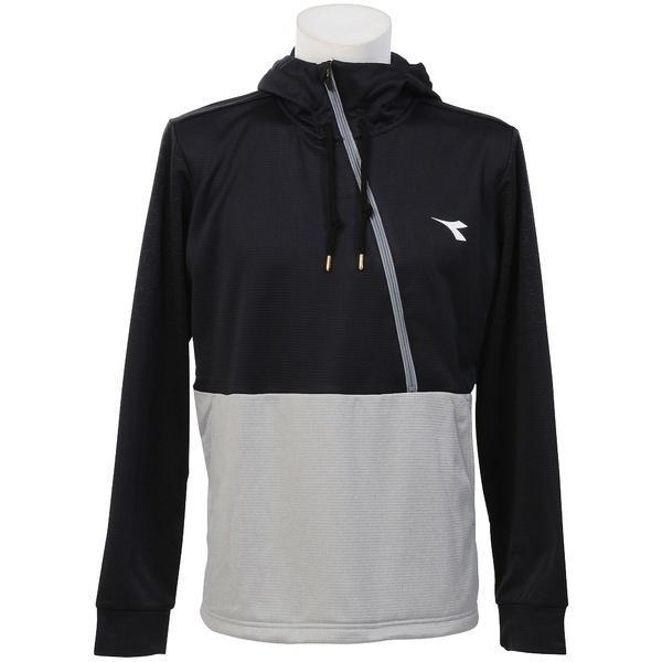 (セール)(送料無料)DIADRA(ディアドラ)テニス バドミントン インナー スウェット コート EVOフーディージャケット DTT7181-9994 メンズ ブラックxシルバー