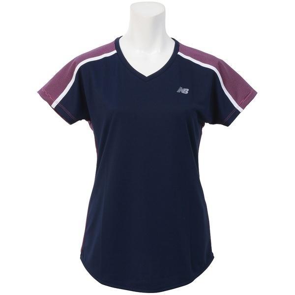 (セール)New Balance(ニューバランス)テニス バドミントン レディース半袖シャツ 長袖シャツ マイクロボーダーショートスリーブゲームシャツ JWTT7515AKK レディース アルファピンク