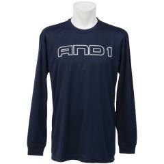 AND1(アンドワン)バスケットボール メンズ 長袖Tシャツ LOGO L/S TEE S737010124 NAVY
