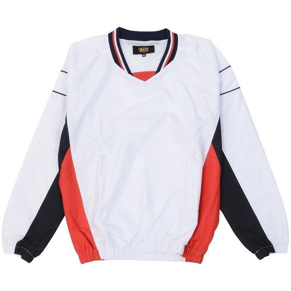 ZETT(ゼット)野球 ジュニアウォームアップ ジュニア ナガソデVネックジャンパー BOV321J-1129 ジュニア ホワイト/ネイビー