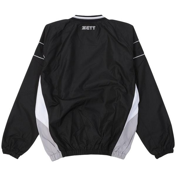 ZETT(ゼット)野球 ジュニアウォームアップ ジュニア ナガソデVネックジャンパー BOV321J-1911 ジュニア ブラック/ホワイト