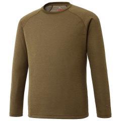 (送料無料)MIZUNO(ミズノ)トレッキング アウトドア 長袖Tシャツ ブレスサーモ ライトインナークルーネックシャツ A2MA753634 メンズ ファーグリーン