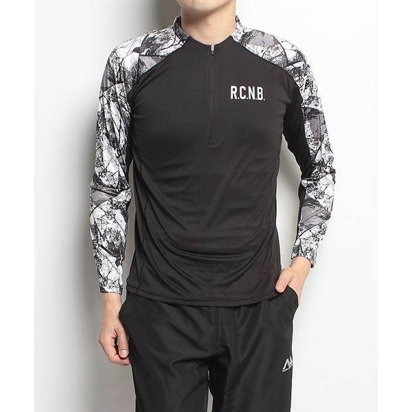 Number(ナンバー)ランニング メンズ長袖Tシャツ プリント長袖ハーフジップ NB-S18-302-008 メンズ ブラック