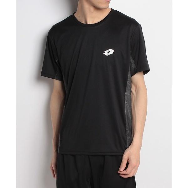 (セール)lotto(ロット)ラケットスポーツ アパレル 切替半袖ゲームシャツ LO-S18-201-003 メンズ ブラック