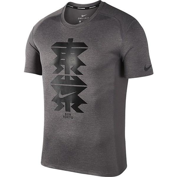 (セール)NIKE(ナイキ)ランニング メンズ半袖Tシャツ ナイキ DRI-FIT マイラー S/S トップ TOKYO AH9360-036 メンズ ガンスモーク/ヘザー/(ブラック)