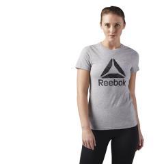(セール)Reebok(リーボック)レディーススポーツウェア Tシャツ WOR DELTA ロゴ グラフィック ショートスリーブTシャツ EEI36 CE4488 レディース ミディアムグレイヘザー