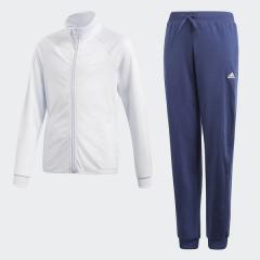 <LOHACO> (セール)adidas(アディダス)ジュニアスポーツウェア ウォームアップスーツ G ジャージ上下セット(ジョガーパンツ)AAW16 CW3827 ガールズ エアロブルーS18/ホワイト画像
