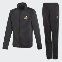 <LOHACO> (セール)adidas(アディダス)ジュニアスポーツウェア ウォームアップスーツ B ジャージ上下セット(ジョガーパンツ)AAW94 CF7346 ボーイズ ブラック/ゴールドメット画像