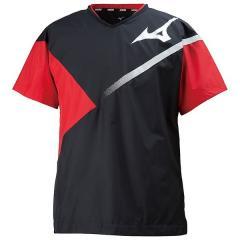 (セール)MIZUNO(ミズノ)バレーボール 半袖プラクティスシャツ ブレーカーシャツ V2ME800196 ブラックXレッド